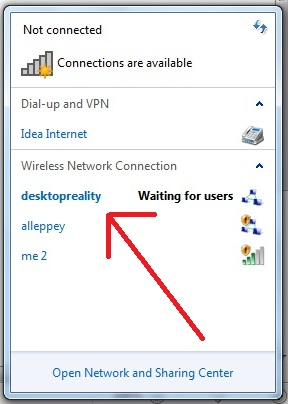 Ad hoc network not visible